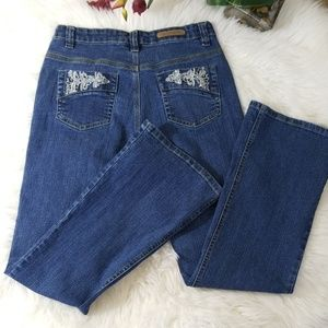 4/$25 Cos Jeans Blue Wash Embroidery Beaded Denim